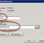"Creación de Directorio Virtual para aislamiento del usuario ""ftp_Juan""."