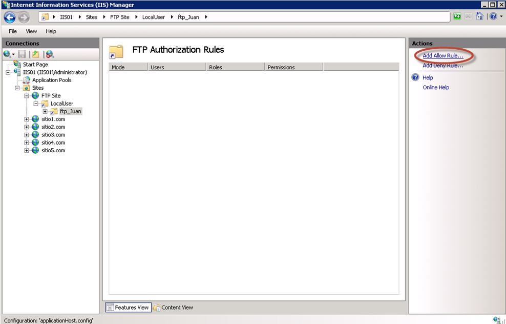 Creación de regla FTP Authorization para ftp_Juan.