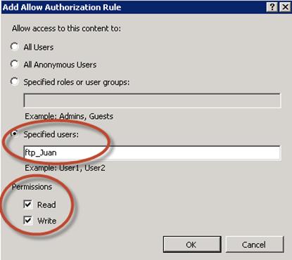 Creación de Regla de Autorización FTP para ftp_Juan.