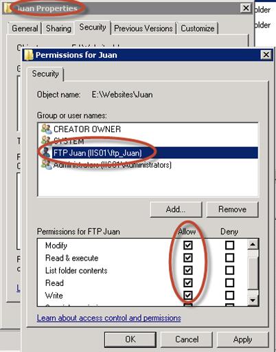 """Asignación de permisos NTFS para la carpeta """"Juan"""", hacia el usuario ftp_Juan."""