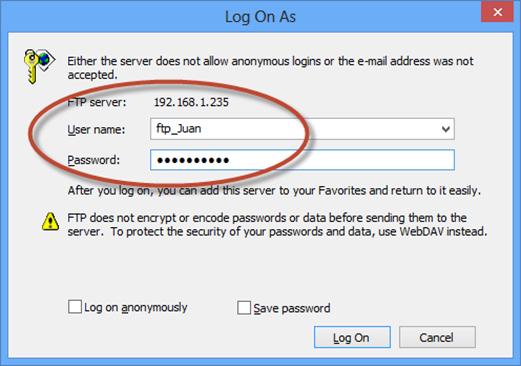 Prueba de ingreso FTP en IIS 7.5 con aislamiento de usuarios.