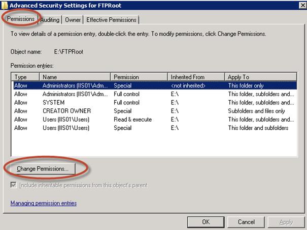 Seguridad de la carpeta FTPRoot para IIS 7.5.