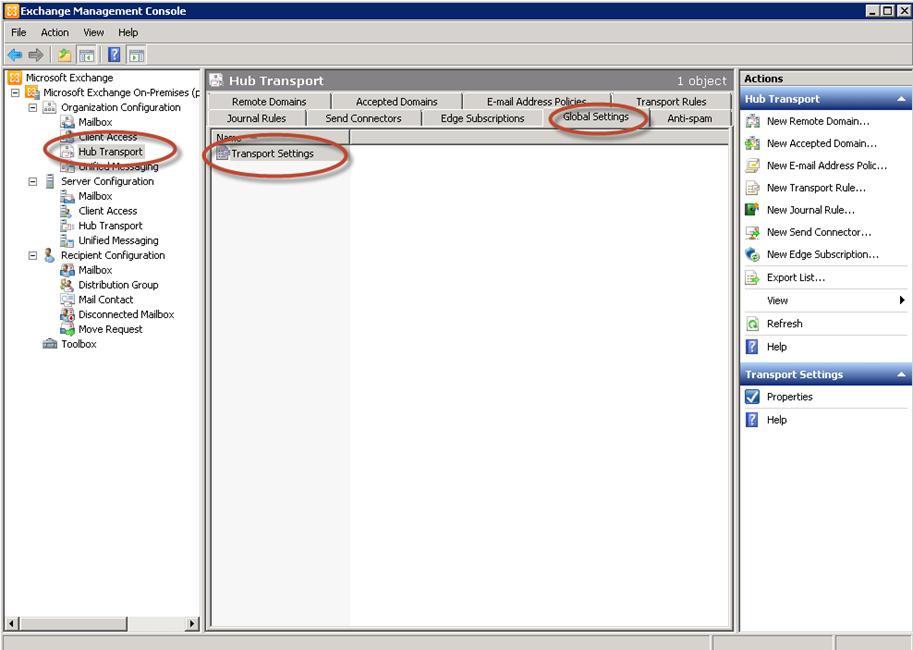 Configuración de Organización - Opciones de Transporte en Exchange 2010