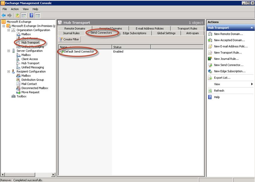 Configuración de Organización - Conector de Envío en Exchange 2010