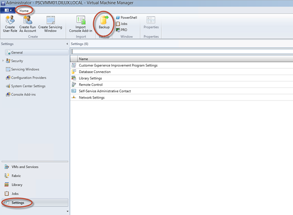 Ilustración 1 – Settings – Home para hacer backup en el System Center Virtual Machime Manager 2012 SP1 Beta.