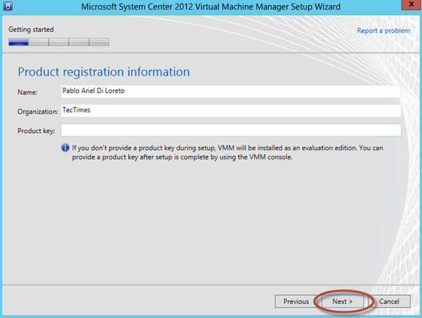 Ilustración 14 – Asistente de Instalación de System Center Virtual Machine Manager 2012 SP1.