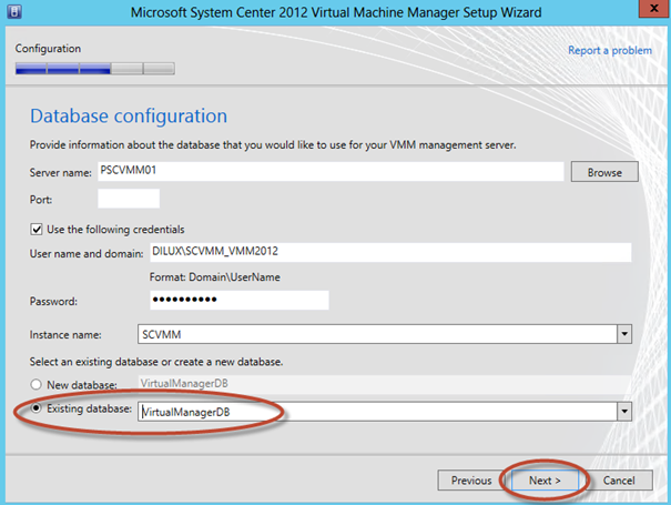 Ilustración 18 - Asistente de Instalación de System Center Virtual Machine Manager 2012 SP1: selección de base de datos existente en la instalación.