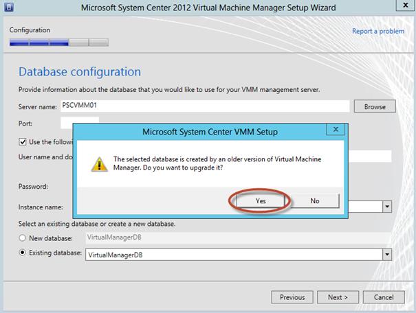 Ilustración 19 – Actualización de base de datos durante la actualización del System Center Virtual Machine Manager 2012 con SP1 integrado.