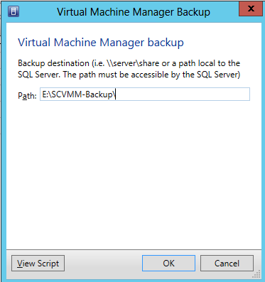 Ilustración 2 – Path para el Backup del System Center Virtual Machine Manager 2012 SP1.