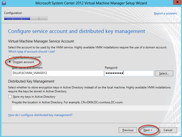 Ilustración 20 – Selección de cuenta de servicio para el System Center Virtual Machine Manager 2012 SP1.