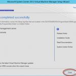 Ilustración 26 – Finalización de instalación de System Center Virtual Machine Manager 2012 con SP1.