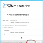 Ilustración 27 – Login inicial en System Center Virtual Machine Manager 2012 con SP1 integrado.