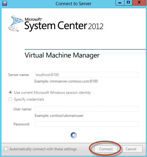 Ilustración 27 – Login inicial en System Center Virtual Machine Manager 2012 con SP1 integrado.