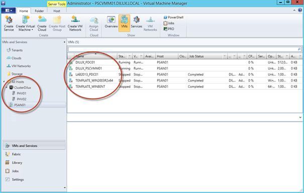 Ilustración 28 – Consola de administración de System Center Virtual Machine Manager 2012 con SP1.