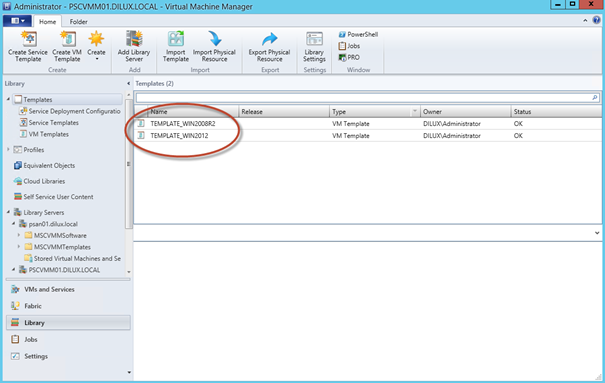 Ilustración 29 – Verificación de templates en System Center Virtual Machine Manager 2012 con SP1 integrado luego de la actualización desde la versión Beta.