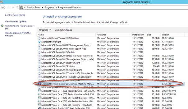 "Ilustración 5 – System Center Virtual Machine Manager 2012 SP1 Beta desde ""Programs and Features"" de Windows Server 2012."