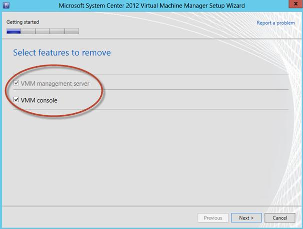 Ilustración 7 – Selección de features a remover durante la desinstalación del System Center Virtual Machine Manager 2012 SP1 Beta.