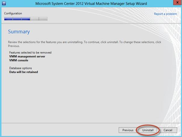 Ilustración 9 – Summary de opciones seleccionadas durante la desinstalación del System Center Virtual Machine Manager 2012 SP1 Beta.