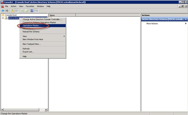 Ilustración 13 - Microsoft Management Console (MMC) para transferir rol Schema Master.