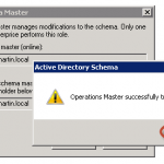 Ilustración 16 - Microsoft Management Console (MMC) para transferir rol Schema Master.