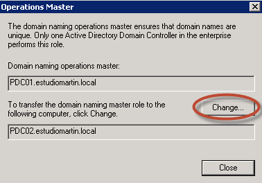 Ilustración 20 - Active Directory Domains and Trusts para transferir rol de Domain Naming.