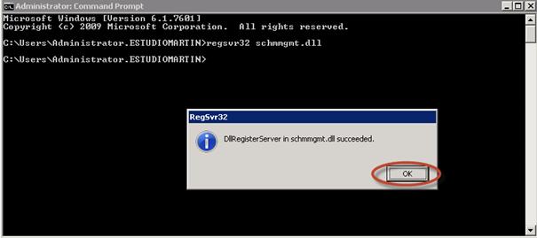 Ilustración 9 – Registro de schmmgmt.dll para verificar el rol Schema Master.