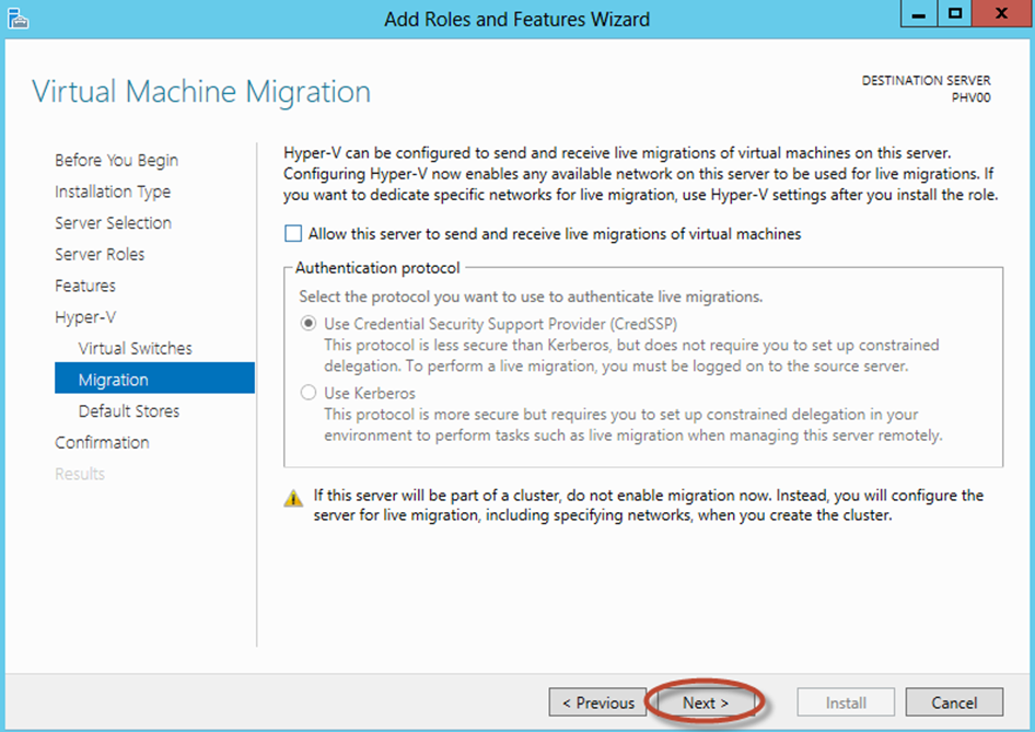 Ilustración 12 – Asistente para Instalación de Rol Hyper-V en Windows Server 2012. Configuración de Live Migration.