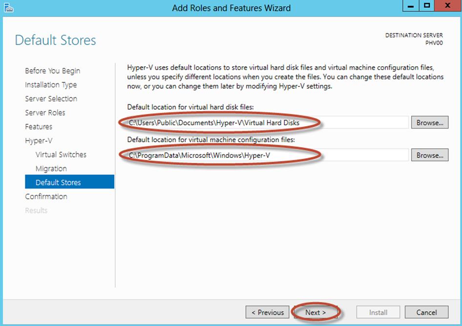 Ilustración 13 – Asistente para Instalación de Rol Hyper-V en Windows Server 2012. Configuración de repositorio predeterminado.