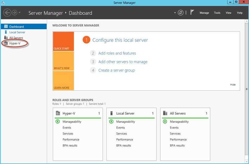 Ilustración 16 – Server Manager con Hyper-V.
