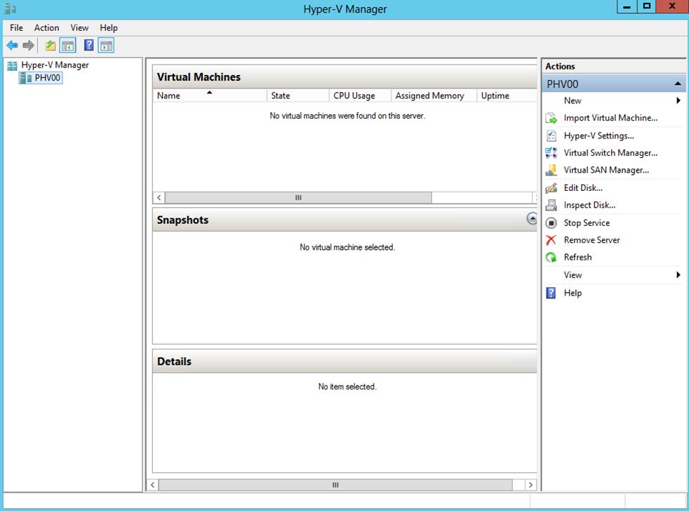 Ilustración 18 – Server Manager con Hyper-V. Hyper-V Manager.