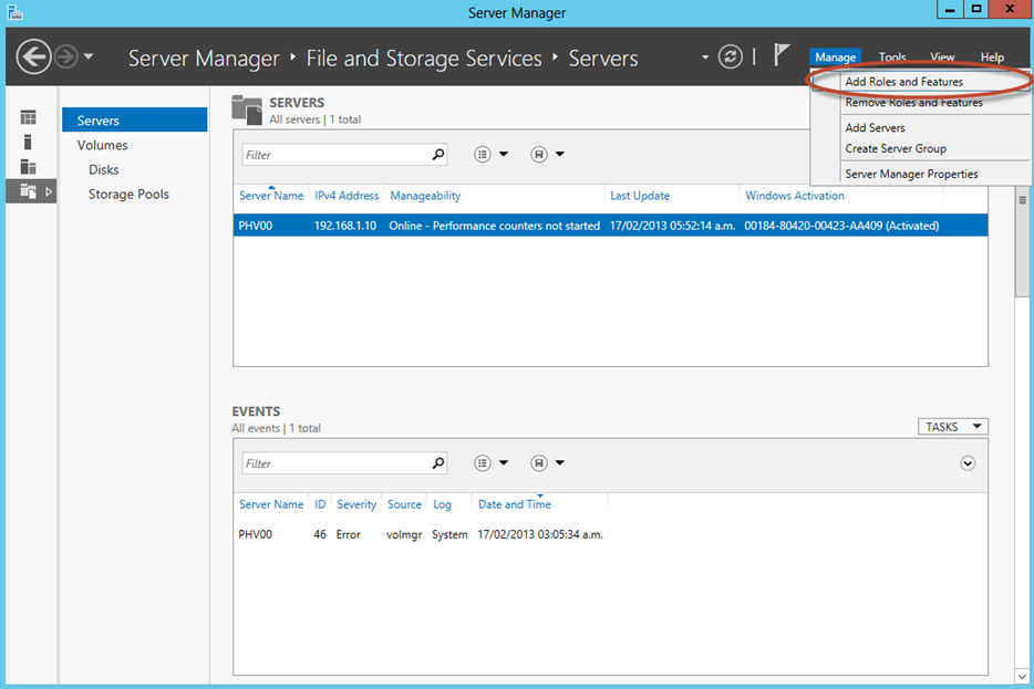 Ilustración 2 – Server Manager de Windows Server 2012: Agregar o Quitar Roles.