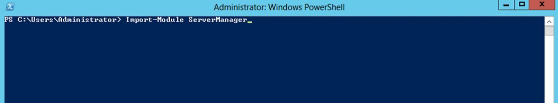 Ilustración 20 – Windows PowerShell para la instalación de Hyper-V.