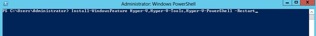 Ilustración 22 – Windows PowerShell para la instalación de Hyper-V.