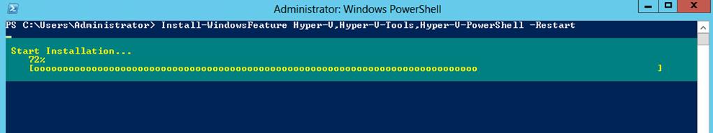 Ilustración 23 – Windows PowerShell para la instalación de Hyper-V.
