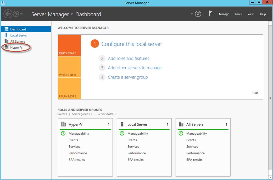 Ilustración 24 – Server Manager con Hyper-V.