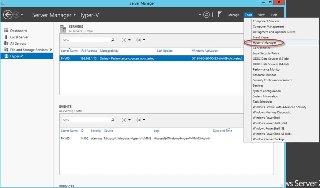 Ilustración 25 – Server Manager con Hyper-V.
