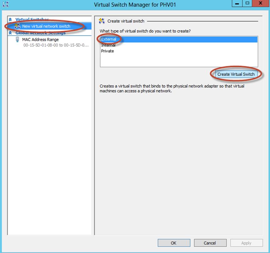 Ilustración 27 – Configuración de Virtual Switch en Hyper-V Manager.