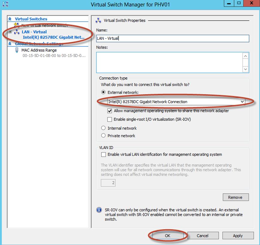 Ilustración 28 – Configuración de Virtual Switch en Hyper-V Manager.