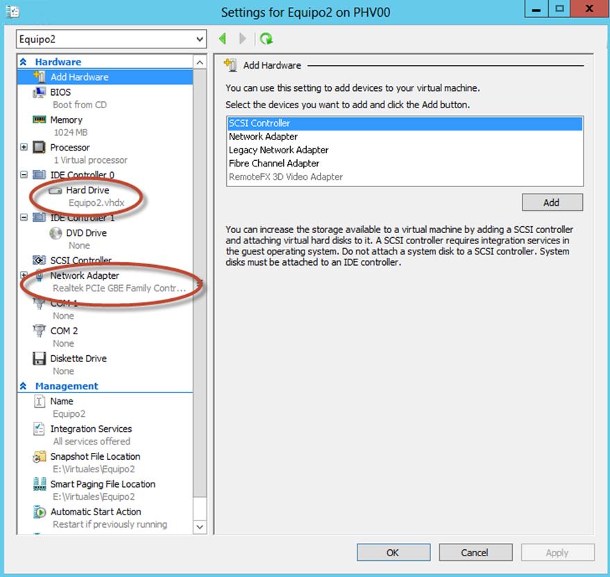 Ilustración 10 – Módulo de PowerShell para Hyper-V en Windows Server 2012. Creación de Equipo Virtual mediante New-VM. Corroboración de creación.