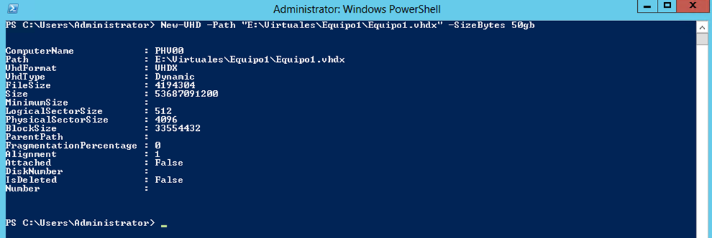 Ilustración 11 – Módulo de PowerShell para Hyper-V en Windows Server 2012. Creación de Virtual Disk para Equipo Virtual.