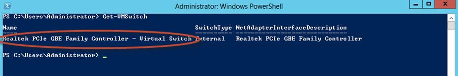 Ilustración 15 – Módulo de PowerShell para Hyper-V en Windows Server 2012. Agregado de VirtualSwitch a Equipo Virtual.