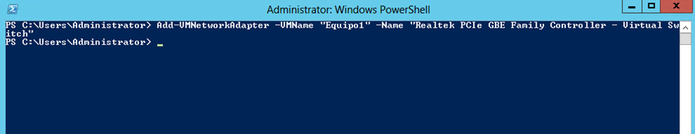 Ilustración 16 – Módulo de PowerShell para Hyper-V en Windows Server 2012. Agregado de VirtualSwitch a Equipo Virtual.