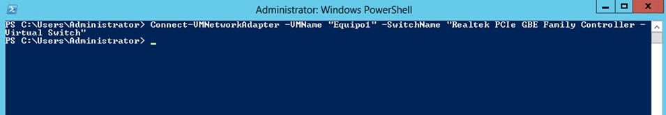 Ilustración 17 – Módulo de PowerShell para Hyper-V en Windows Server 2012. Conexión de VirtualSwitch a Equipo Virtual.