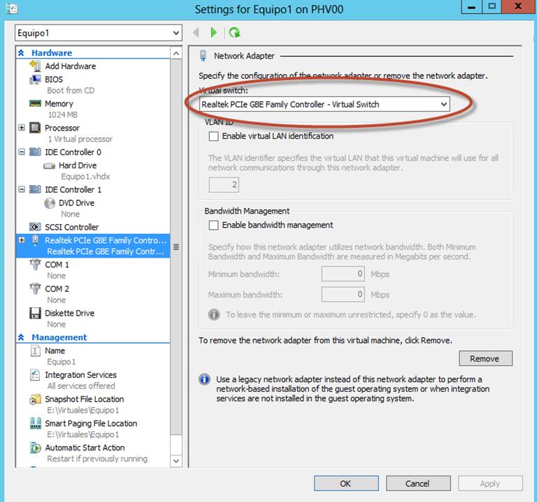 Ilustración 18 – Módulo de PowerShell para Hyper-V en Windows Server 2012. Conexión de VirtualSwitch a Equipo Virtual.