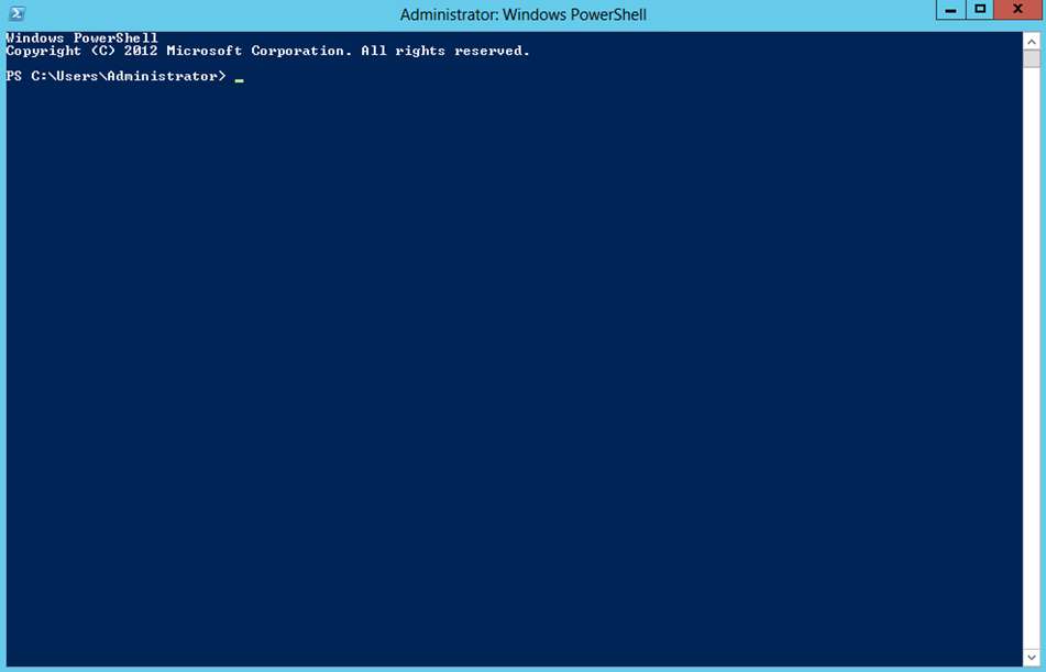 Ilustración 2 – Windows PowerShell para Administrar Hyper-V en Windows Server 2012.