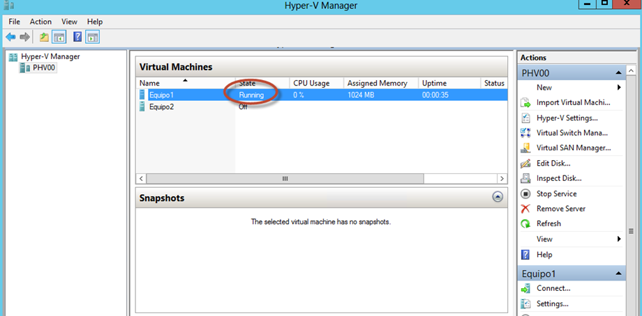 Ilustración 20 – Módulo de PowerShell para Hyper-V en Windows Server 2012. Encendido de Equipo Virtual.