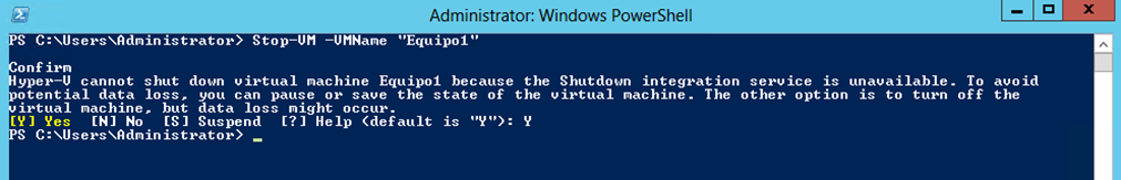 Ilustración 21 – Módulo de PowerShell para Hyper-V en Windows Server 2012. Apagado de Equipo Virtual.