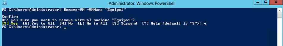 Ilustración 24 – Módulo de PowerShell para Hyper-V en Windows Server 2012. Eliminación de Equipo Virtual.