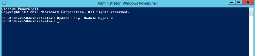 Ilustración 3 – Windows PowerShell para Administrar Hyper-V en Windows Server 2012. Actualización de la ayuda.