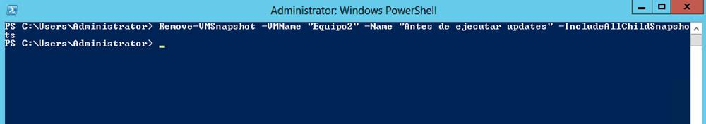 Ilustración 32 – Módulo de PowerShell para Hyper-V en Windows Server 2012. Eliminación de Snapshots en Equipos Virtuales.